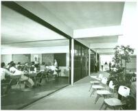Alamitos School, children in classroom and quad [photograph]