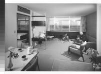 Painted Desert, Richard J. Neutra and woman in apartment