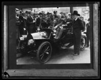 Harry Chandler with others in 1907 Model G Franklin automobile