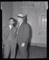Labor leader, Jeff Kibre and Detective Lieutenant Leroy Sanderson in Los Angeles, Calif., 1939