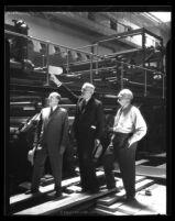 Harry Chandler, Eugene Meyer & Jacob Baum at Los Angeles Times presses, circa 1934