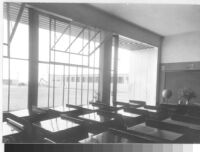 California Military Academy, interior classroom with windows looking out to quad