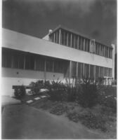 Edward Kaufman House, exterior angled view from garden