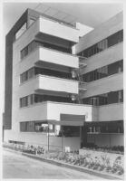 Jardinette Apartments, exterior angle view of entrance and balconies