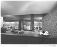 Frank and Betty Miller House, interior view from foyer looking across livingroom to backyard