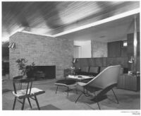 Frank and Betty Miller House, interior livingroom and fireplace