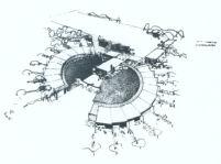 Le Moore School, sketch birds-eye-view, (new location kindergarten)