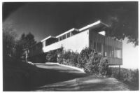 Early Works R.J. Neutra, exterior of unidentified two-story house on stilts