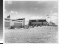 Guam schools, Adelup School, exterior with landscaping drawn in pencil on photograph