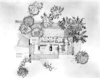 Grelling House, floor plan for upper floor with some landscaping