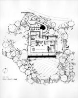 Rentsch House, site plan with floor plan for upper floor