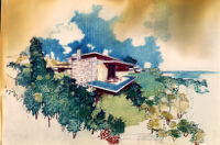 Fricsay House, rendering in color, exterior view of deck