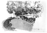 Grelling House, photograph of rendering, exterior view of Northeast
