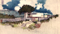 Bucerius House, rendering in color, exterior view from street