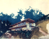 Rentsch House : Alpen Haus, rendering in color, exterior view of Southeast