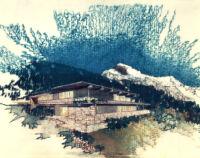 Rentsch House : Alpen Haus,  rendering in color, exterior view