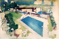 Fricsay House, rendering in color, exterior view of swimming pool area