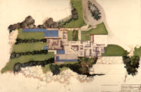 Bucerius House, rendering in color, floor plan and site plan