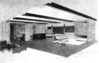Sontheim House, rendering of interior room with fireplace