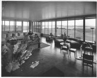 J. N. Brown House, interior social quarters, broad view of room & windows