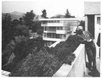 Richard J. Neutra on balcony at Lovell Health House
