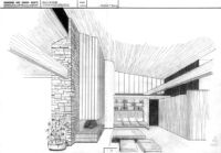 Rentsch House [?], photograph of rendering interior living room