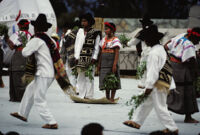 Santa Catarina Estetla, dancers holding leaves, 1985