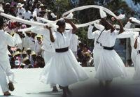 San Pedro Cajonos, dancers holding textile strips, 1985