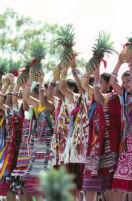 Tuxtepec, women dancers holding pineapples, 1985