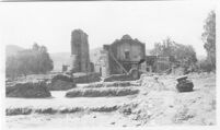 Missions, San Diego de Alcala, reconstruction, remains of two standing walls before reconstruction, 1920