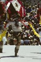 Teotitlán, men dancing wearing large headdresses, 1985