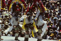 Teotitlán, men dancing wearing large headdresses, 1985