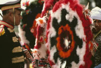 Saints Day, men and headdresses, 1982
