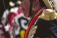 Saints Day, face of man in soldier costume, 1982