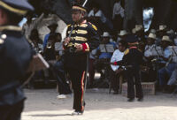 Saints Day, man marching in soldier costume, 1982