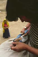Ocotlan, painting clay figurines, 1982