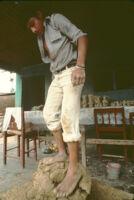 Ocotlan, kneading clay with feet, 1982