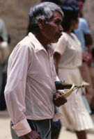 Oaxaca, man holding old trumpet, 1982 or 1985