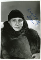 Gertrude Stein, portrait wearing coat and black hat [Rough Proof Delar written on image]