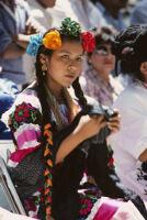 Guelaguetza[?], woman dancer 2, close-up, 1982 or 1985, [view 1]