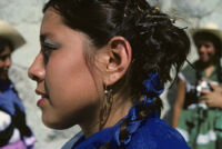 Guelaguetza[?], woman dancer 6, close-up, 1982 or 1985, [view 6]