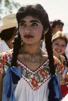 Guelaguetza[?], woman dancer 8, close-up, 1982 or 1985, [view 1]