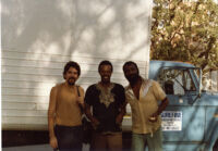 Mark Weber, Horace Tapscott and Henry Franklin at the Pan Afrikan People's Arkestra performance at UCLA, 1981 [descriptive]