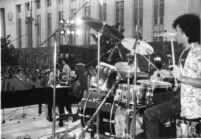 Johnny Otis performing at a downtown L.A. street fair [descriptive]