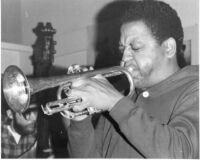 Bobby Bradford playing trumpet, 1976 [descriptive]