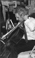 Fred Katz playing cello, 1979 [descriptive]