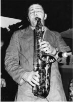 Art Pepper playing saxophone in Los Angeles, 1976 [descriptive]