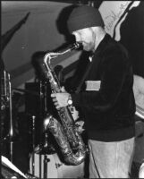 Don Menza performing on a decorated sax [descriptive]