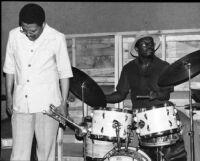 Bobby Bradford, Stanley Crouch at The Little Big Horn, Pasadena, California, 1977 [descriptive]