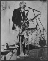 Frank Lowe playing saxophone, 1978 [descriptive]